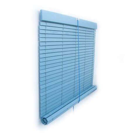 Persiana Alicantina madera polea metálica a medida azul pintada