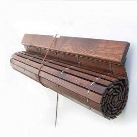 Persiana Alicantina madera NOGAL barnizado polea PVC a medida