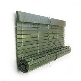 Persiana Alicantina madera VERDE RÚSTICO barnizado polea PVC a medida