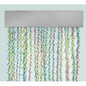 Cortina exterior para puertas PVC antimoscas plata a medida MALLORCA