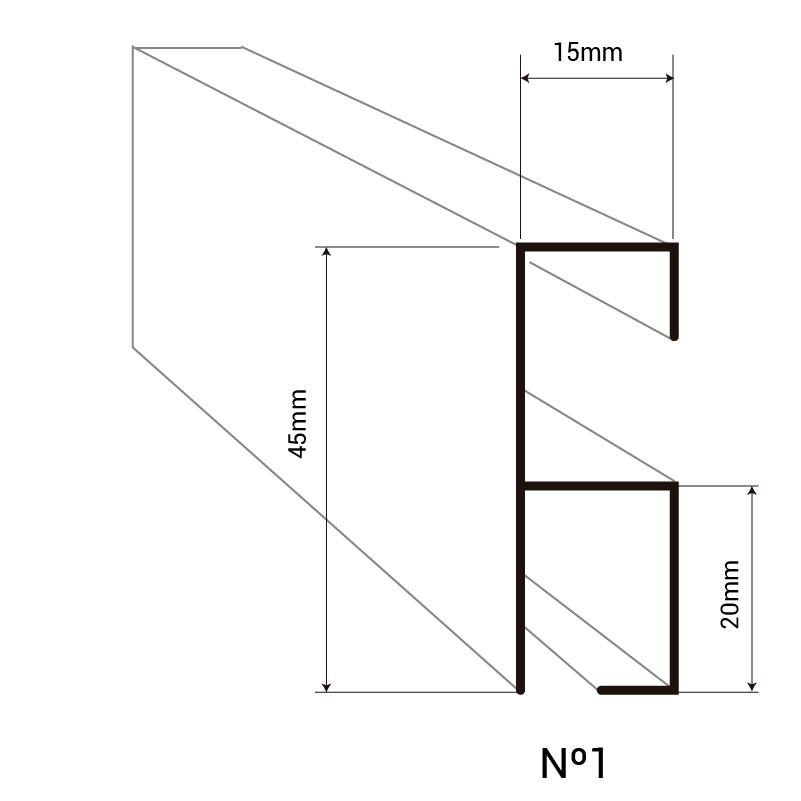 Perfil montante para cortina de cintas doble-trabada