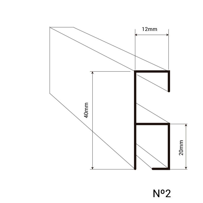 Montante para cortinas de cintas de una sola línea