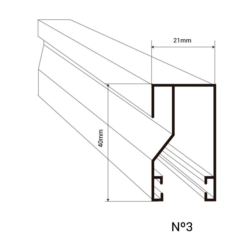 Montante N3 para cortinas de tiras