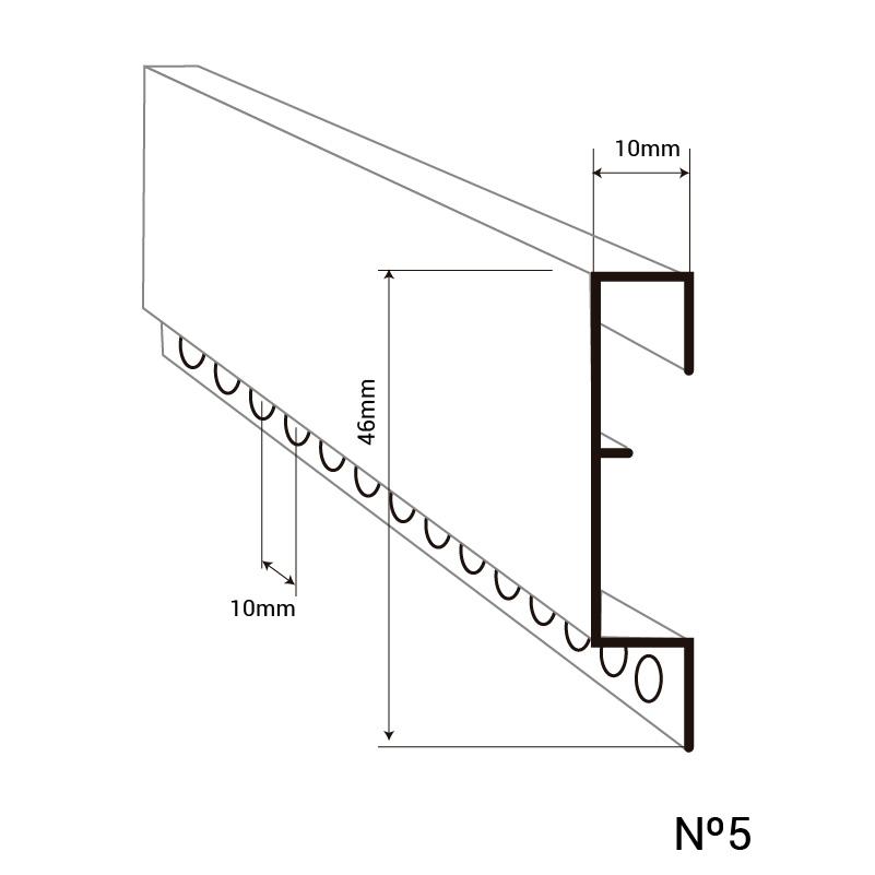 Perfil y acotaciones montante N5 cortina para puertas