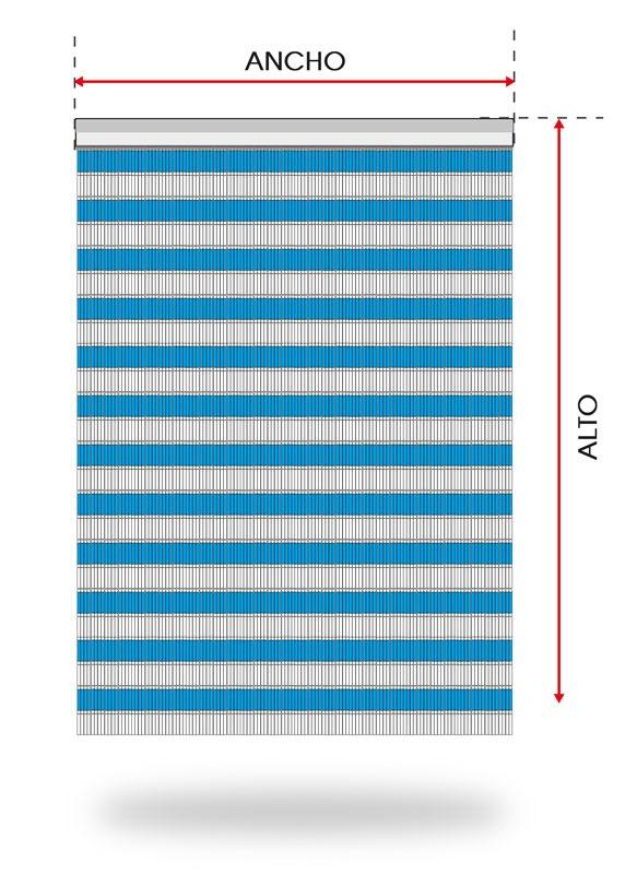 Medidas del pedido de una cortina de canutillo