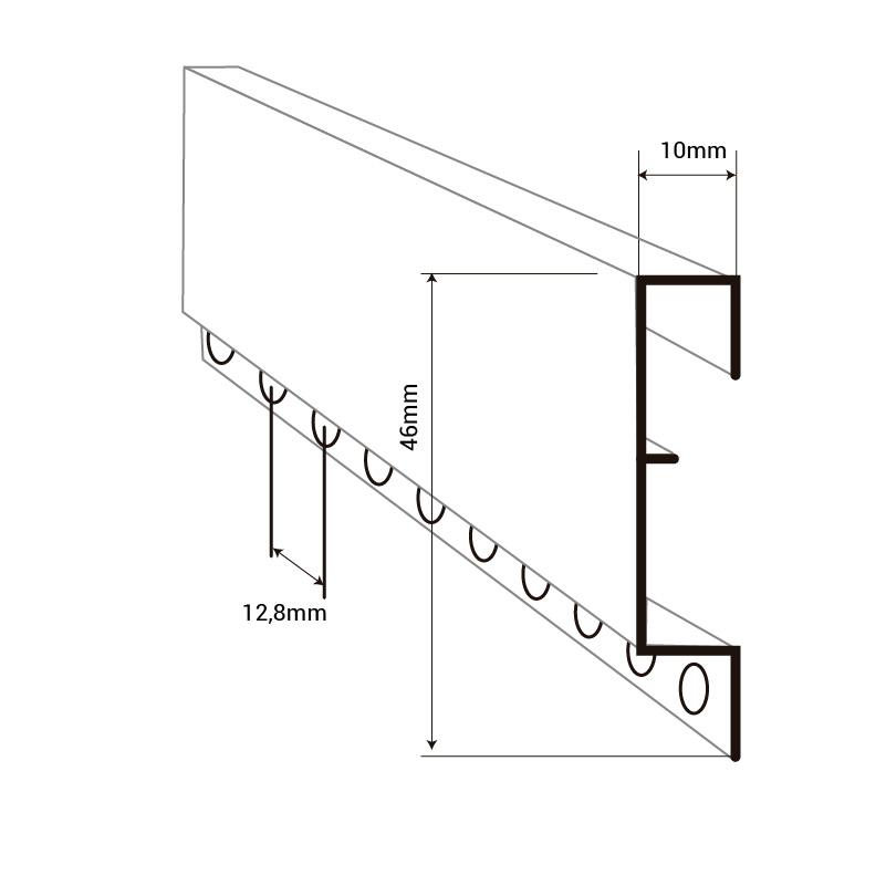 perfil montante cortina canutillo y cadenilla aluminio